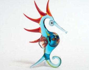 Glass Blue Seahorse Hand-Blown Figurine