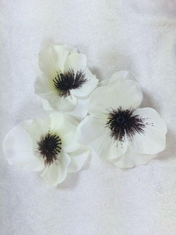 Silk Flowers 3 White Viola Flowers Artificial Flowers