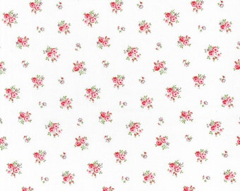 Organic - Royalty Roses on White - European Fabric