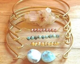 Stacking Bracelet Set, Stacking Gemstone Bracelet Set, Stacking Bangle Set with Gemstones, Multi Colored Gemstone Bracelet Set of 5