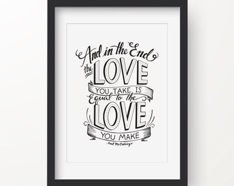 Hand-illustrated Poster, Wall Art, Quote - Beatles Love Quote - Paul McCartney - Great Wedding Gift