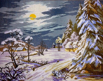 "Gobelin Tapestry Needlepoint Kit ""Winter"" hand embroidery printed canvas 173"
