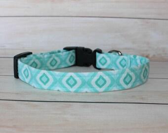 Aqua Dog Collar- - boy dog collars- cute boy dog collars- girl dog collar- adjustable collar- custom dog collar- unique dog collar