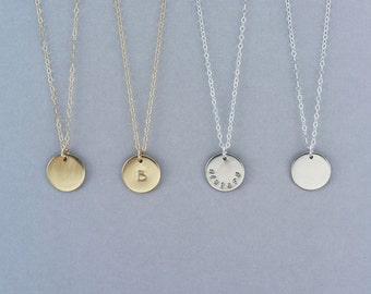 Small Gold Circle Necklace, Small Personalized Necklace, Gold Disc Necklace, Personalized Layering Necklace, Initial Necklace, 13mm LC101