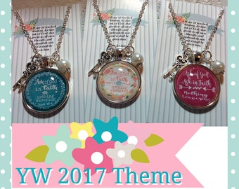 "LDS 2017 Young Women Theme Necklace, If any of you lack Wisdom, charm and glass bead, glass dome, 24"" chain, LDS gift"