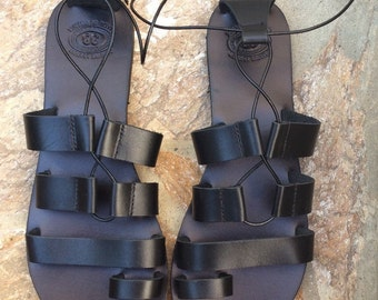 Black Tie Up Greek Sandals, Leather Sandals, Lace up sandals,  Summer Sandals, Gladiator Sandals, Tie up sandals, Handmade in Greece