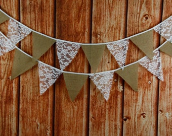 2 x 3.2m Lace and Burlap Wedding/Bridal Decoration Banners