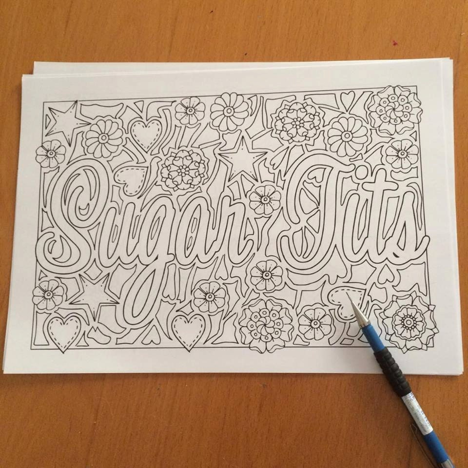 Fancy swear words coloring book - Sugar Tits Swearing Coloring Pages Sweary Coloring Book Sweary Coloring Book For Adults Zentangle
