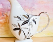 Mid Century Creamer Handpainted Ucagco China : Made in Japan 1950s Porcelain Bamboo Motif Small Pitcher