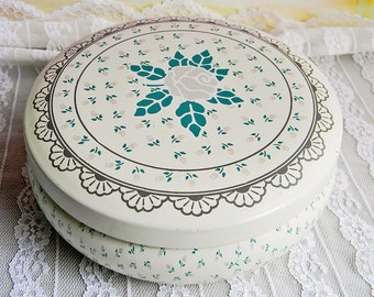 Romantic Rosebud Print Vintage Tin: Round Metal Container Cream/Pink/Green Made in Brazil