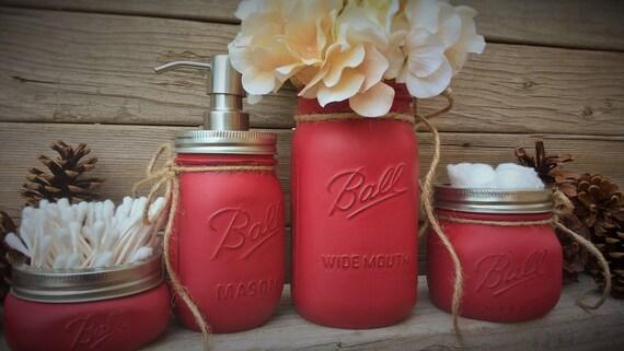 Bathroom Organization,Rustic,Christmas Gift,Kitchen,Home Decor,Mason Jar Bathroom Sets,Rustic Home Decor,Holiday Decor,Painted Mason Jars
