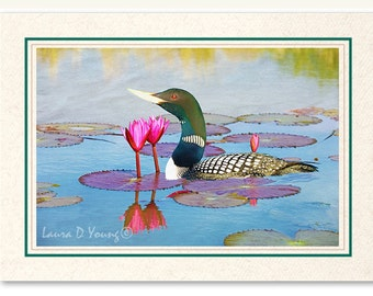 Photo Greeting Card, Photo Note Card, Handmade Card, Yellow Billed Loon, Lotus Flowers, All Occasion Card, 5x7 Blank Card, Fine Art Print