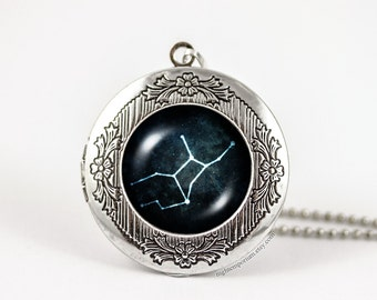 Virgo constellation zodiac necklace · personalized locket · Astrology · Handmade · zodiac sign · gifts for her · star signs · horoscope