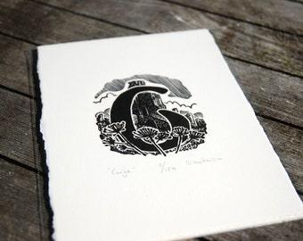 "Hand Printed Alphabet ""C"" Wood Engraving"