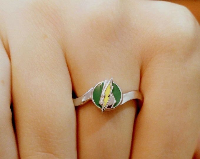 Ladies Custom surgical steel Flash and Green Arrow Inspired Ring Limited Edition of 50