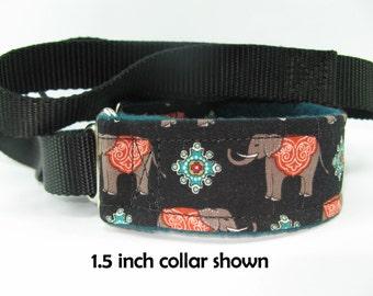 Elephant Caravan Martingale Leash, Elephant Collar and Leash In One, Fleece Martingale Collar, Elephant Martingale, Agility Slip on Leash