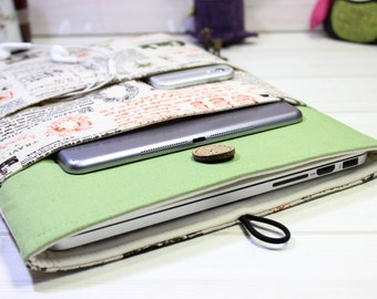 "Green New Macbook 12 inch sleeve, Macbook Air 11 sleeve, Laptop case 12"", Macbook sleeve, Fabric laptop case, Laptop Sleeve, Gift for women"
