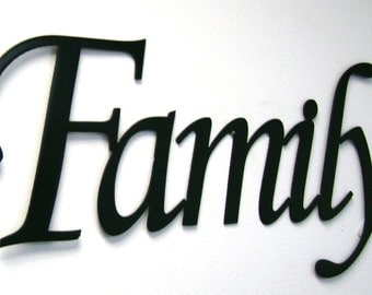 family metal sign in black or unfinished metal wall art home decor - Metal Signs Home Decor