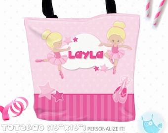 SALE ballerina Personalized Tote Bags, custom Tote bag, kids tote, school tote, kindergarten tote, beach tote bag, Tote Bags TB126