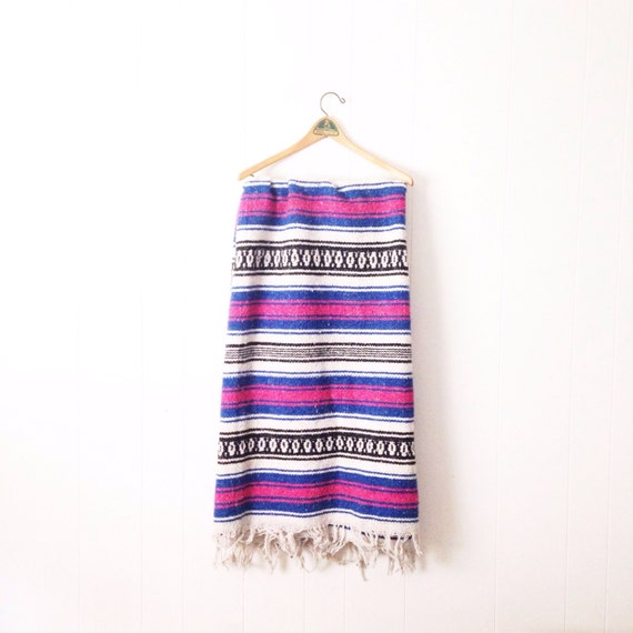 Mexican Beach Blanket: Vintage Mexican Blanket. Vintage Serape. Beach Blanket. Boho