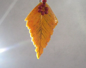 Yellow autumn leaf pendant  polymer clay leaf necklace golden autumn Yellow necklace birch leaf autumn pendant women's jewelry