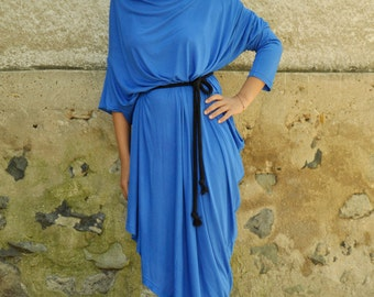 New collection/Roual blue tunic/Oversize caftan/Maxi blue dress/Plus size long dress/Long sleeves party caftan/Asymmetrical Tunic/D1335