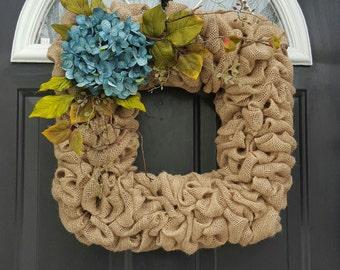 Square wreath, Hydrangea wreath, Flower wreath, Burlap wreath, Front door wreath, Year round wreath, Spring Wreath, Summer wreath