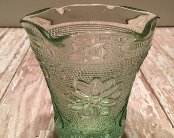Vintage Sandwich Glass Tiara Chantilly Green Votive Cups Candle Holder Scalloped Edge Votive Cups