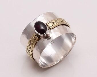 925 Solid Sterling Fine Silver Copper-Brass Garnet Ring