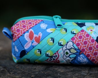 Teal, Pink, Orange, and Blue Quilted Zipper Case - Vinyl Lined - Pencil Bag, Makeup pouch, Organizer, Essential Oils Case, Small Duffel