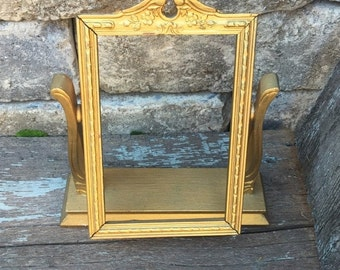 ON SALE antique swivel photo frame/vintage gold wooden handing picture frame/ornate gold standing  frame/antique picture frame/ gold photo f
