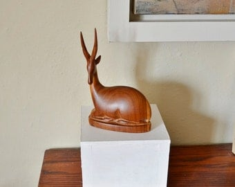 Retro 1970's African Carved Wood Sitting Antelope