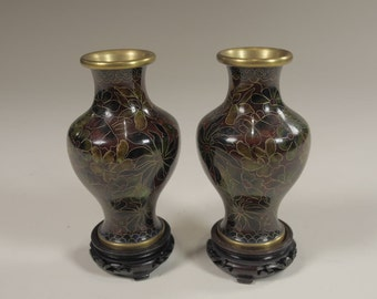 Pair of hand enameled Cloisonne Urns on pedastals