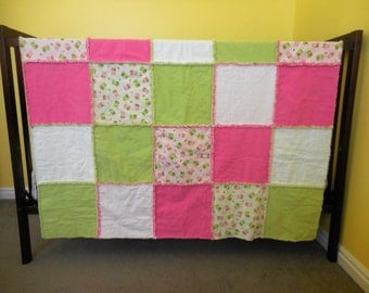 Rag Quilt - Pink and Green with Owls