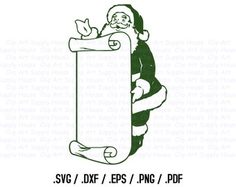 Santa Claus Clipart, Winter Christmas Wall Art, Santa SVG File for Vinyl Cutters, Screen Printing, Silhouette, Die Cut Machines - CA187