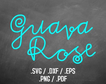 Guava Rose Font Design Files For Use With Your Silhouette Studio Software, DXF Files, SVG Font, EPS File, Svg Font, Silhouette, Yeti Decal