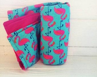 Hot Pink and Aqua Flamingo Receiving Blanket