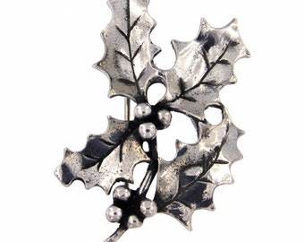 Holly brooch festive pewter brooch in the design of a sprig of holly-Hand Made and Design in UK