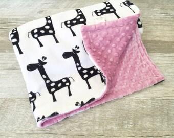 Baby Blanket Giraffe Blanket Giraffe Minky Baby Blanket Baby Girl Gift Girl Crib Bedding Black and White Dusty Rose Mauve Toddler Bedding