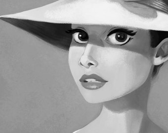 Audrey Hepburn, Black and White Print