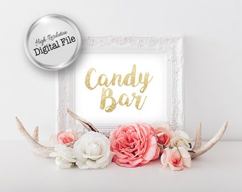 Candy Bar Sign, 5x7 White & Gold Sign, Wedding Reception, Digital File, Printable File, Instant Download