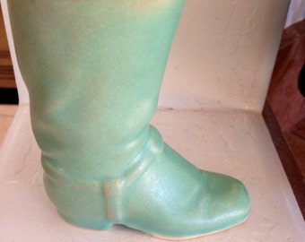 Mint Green Pottery Boot Planter