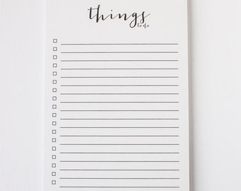White Notepad - Things To Do Notepad, Kraft Notepad, Modern Office Stationery,