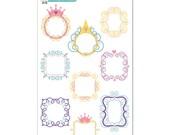 Princess Swirly Frames Stickers - Disney Planner Stickers