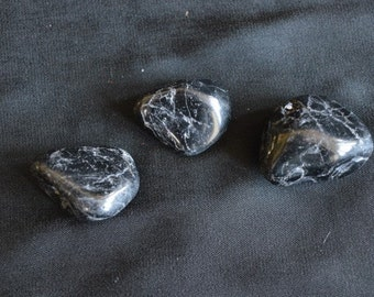 3 Black Tourmaline Crystal Tumblestones for healing, Reiki and meditation