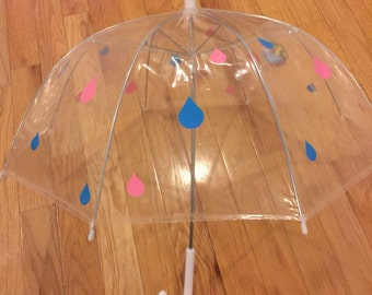 Baby shower Decoration, sprinkle , baby shower decor Personalized umbrella, adult & child size, clear dome, great gift any name