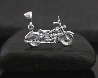 Serling Silver Motorcycle Necklace, Silver Biker Necklace, Silver Motorcycle Charm, Harley davidson Necklace, Rider Necklace, Silver Bike