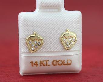 14k Straeberry Stud Earrings, Solid Gold Stud Earrings, Strawberry Earrings, 14K Yellow Gold Earrings, Girls Stud Earrings, 14K Screw Back
