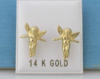 14k Gold Angel Stud Earrings, 14k Yellow Gold Angel Stud,  14k Eros Earrings, cherubin Stud Earrings, Valentine Gift,  14K Cupid Earrings