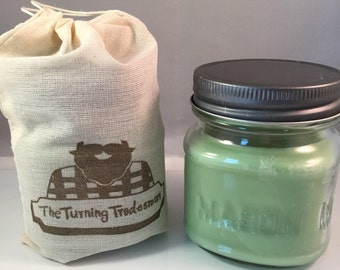 Fresh Cut Grass Candle - Mason Jar Candle - Wax Candle - Soy Wax/Paraffin - Half-Pint Candle - Manly Candle - Burly Candle - 8 oz Candle